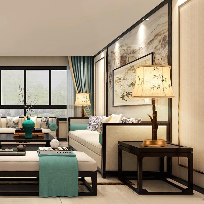 新中式台灯 现代创意时尚客厅卧室床头灯装饰酒店房间
