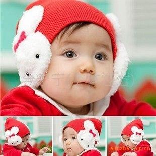 超可爱韩版兔子护耳帽子 宝宝毛线双兔帽