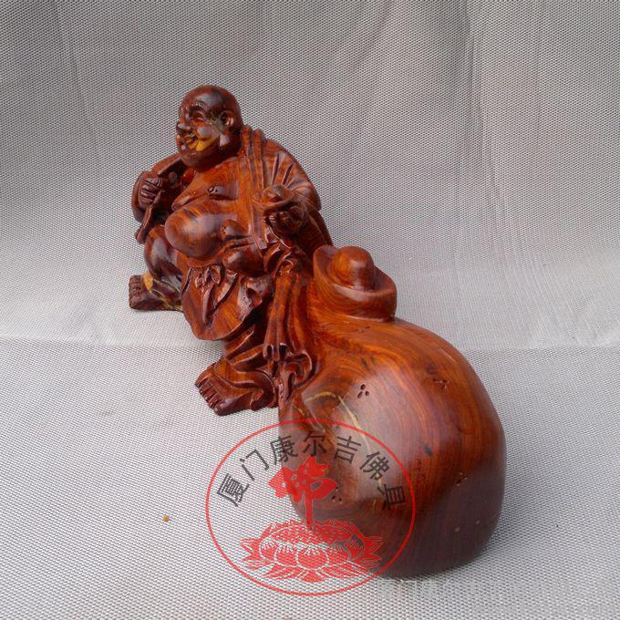 红檀木拉布袋弥勒佛 招财弥勒佛*木雕大肚笑佛 摆件 红木工艺品