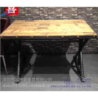 美式实木餐桌长方形大桌深惠美做旧复古吧台咖啡厅西餐桌