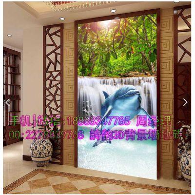 夏日阳光海滩草地椰树海鸥海豚玄关背景墙独特创意