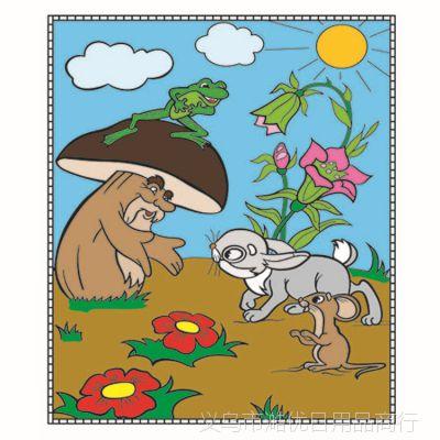创意儿童蜡笔动物涂鸦画毯 益智彩色水洗画毯 来样定制 厂家直销