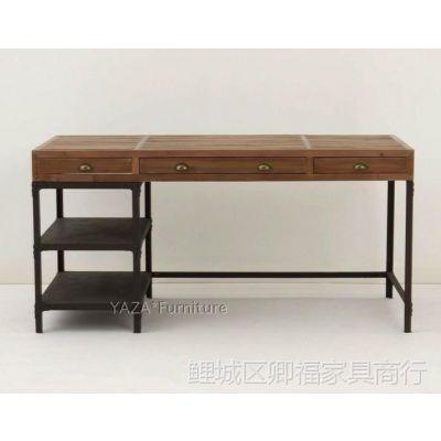 特价美式乡村复古铁艺仿古桌写字桌电脑桌休闲桌办公桌主管桌图片