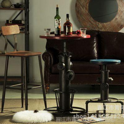 欧式 复古loft风格咖啡厅休闲吧台椅 铁艺旋转酒吧桌椅厂家批发