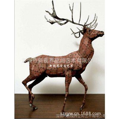 新品上市 铁艺动物雕塑 铁艺鹿摆件 金属工艺品
