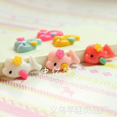 【厂家直销】新款儿童甜美可爱小海豚树脂配件 韩国头饰材料diy