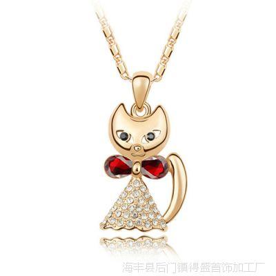 蝴蝶结小猫奥地利水晶项链-加菲猫-金红色