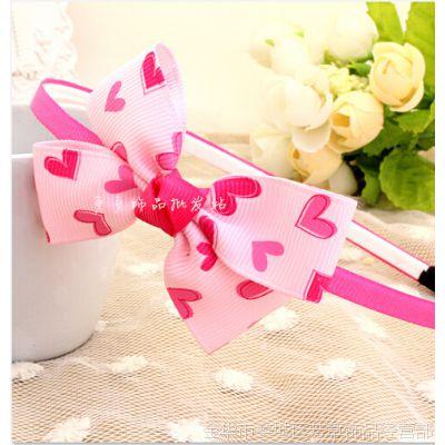 新款韩版 可爱 爱心缎带宝宝儿童头饰发饰发箍头箍发箍粉色批发