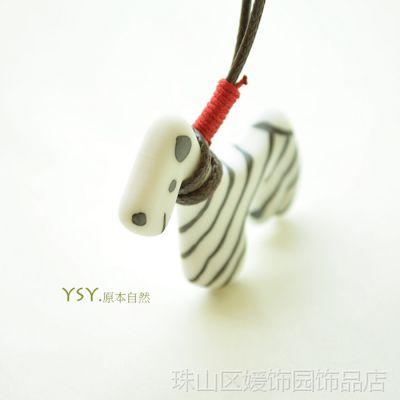 森系卡通斑纹狗吊坠 小清新文艺项链挂件 原创手绘陶瓷饰品 礼物