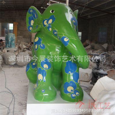 手绘大象雕塑厂家|大笨象白胚定做|玻璃钢仿真动物雕塑