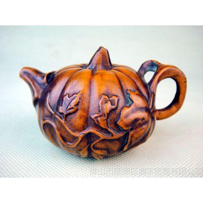 黄杨木雕件手玩件南瓜壶茶室茶宠摆件 黄杨木南瓜小茶壶手把件