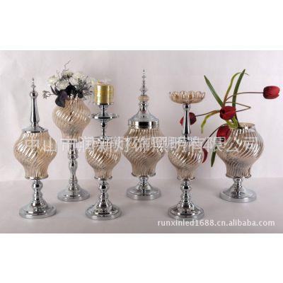 供应欧式烛台工艺品 玻璃家居饰品 摆件